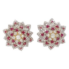 Diamonds and Rubies, 18kt White/Yellow Gold Flower/Star Design Clip-On Earrings