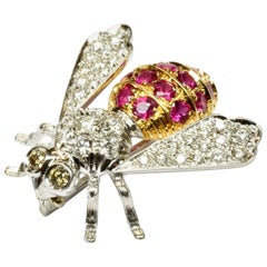 Diamonds and Rubies Gold Bee Brooch Made in Italy
