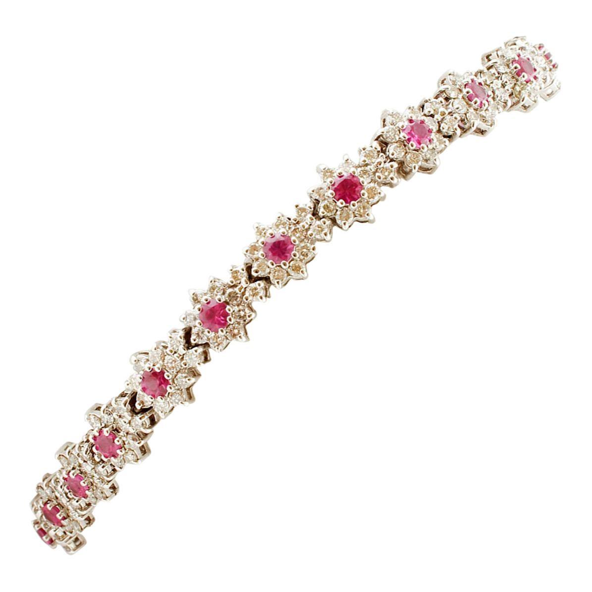 Diamonds and Rubies, White Gold Link Bracelet