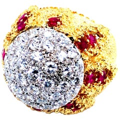 Diamonds and Ruby 18 Karat Domed Cocktail Ring, circa 1960