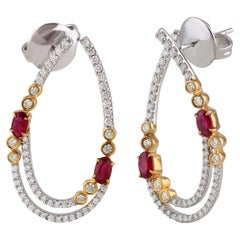 Diamonds and Ruby Hoop Earrings in 18 Karat Gold