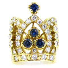 Diamonds and Sapphires Crown Yellow Gold Fashion Ring