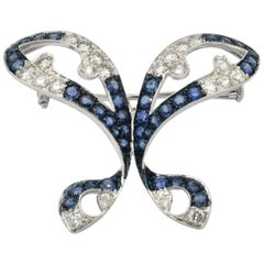Diamonds and Sapphires White Gold Butterfly Brooch, Italy