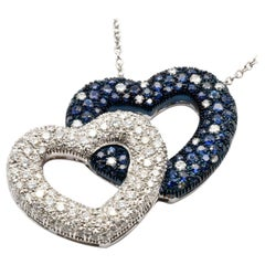 Diamonds and Sapphires White Gold Heart Pendant Necklace, Made in Italy