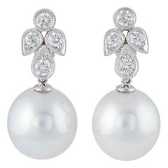 Diamonds and South Sea Pearl Dangling Leaf Earrings