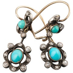 Diamonds and Turquoises 19th Century Earrings