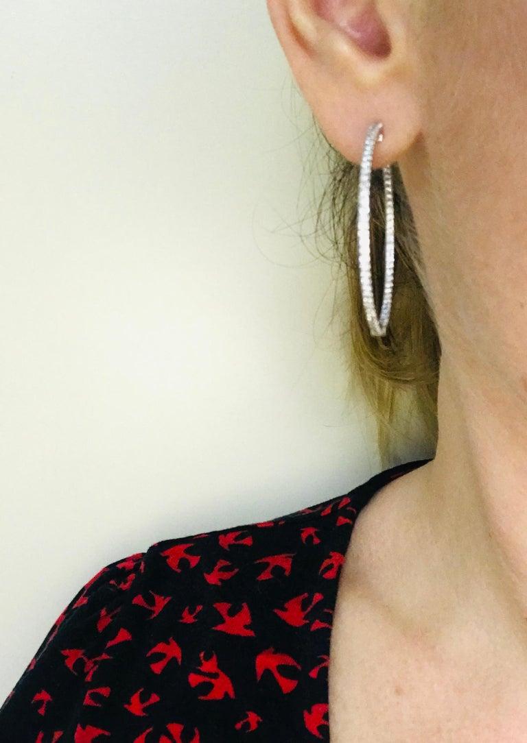 Diamonds and White Gold 18 Karat Hoop Earrings For Sale 6