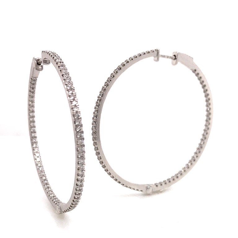 Diamonds and White Gold 18 K Hoop Earrings  Diameter 3.3 cm/ 1.3 Inch Diamonds Brillant Cut/ 1.350 ct Color H Purity SI Security Claps