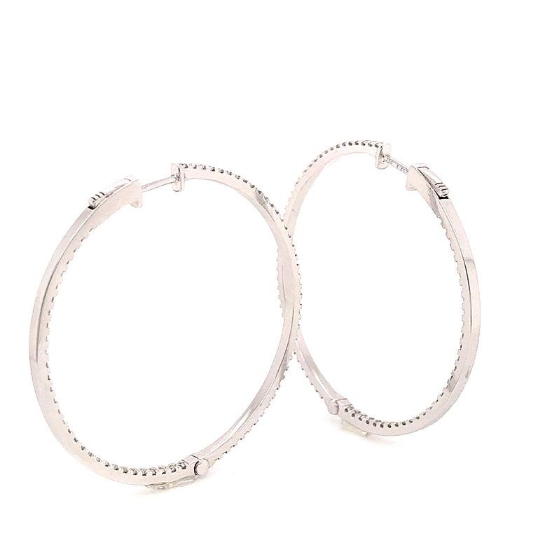 Diamonds and White Gold 18 Karat Hoop Earrings For Sale 2