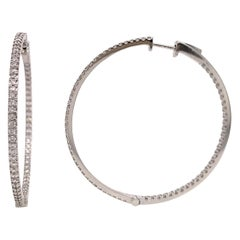 Diamonds and White Gold 18 Karat Hoop Earrings