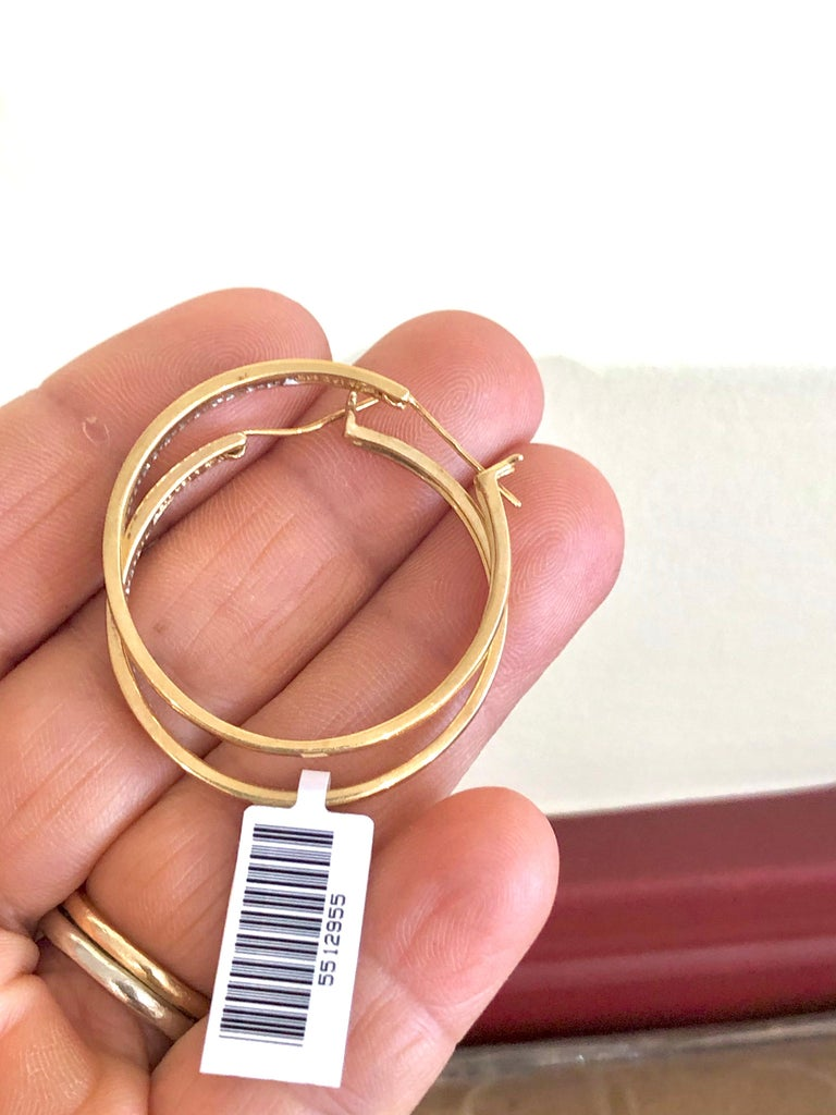 Round Cut Diamonds and Yellow Gold 14 Karat Hoop Earrings For Sale