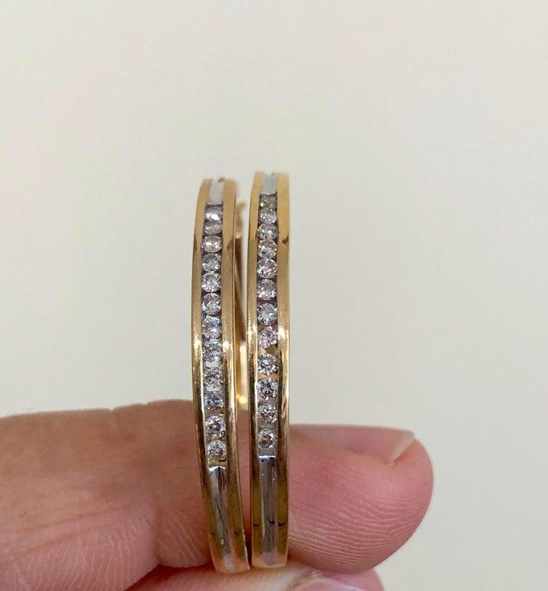 Women's or Men's Diamonds and Yellow Gold 14 Karat Hoop Earrings For Sale