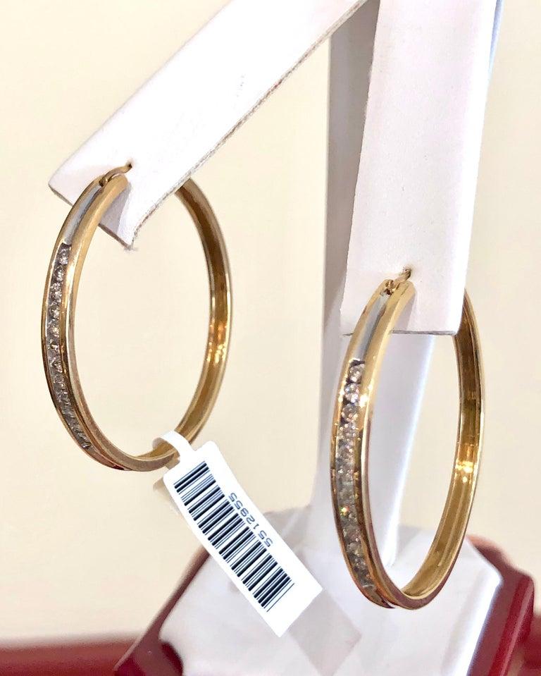 Diamonds and Yellow Gold 14 Karat Hoop Earrings For Sale 1