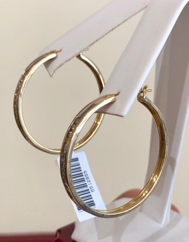 Diamonds and Yellow Gold 14 Karat Hoop Earrings For Sale 2