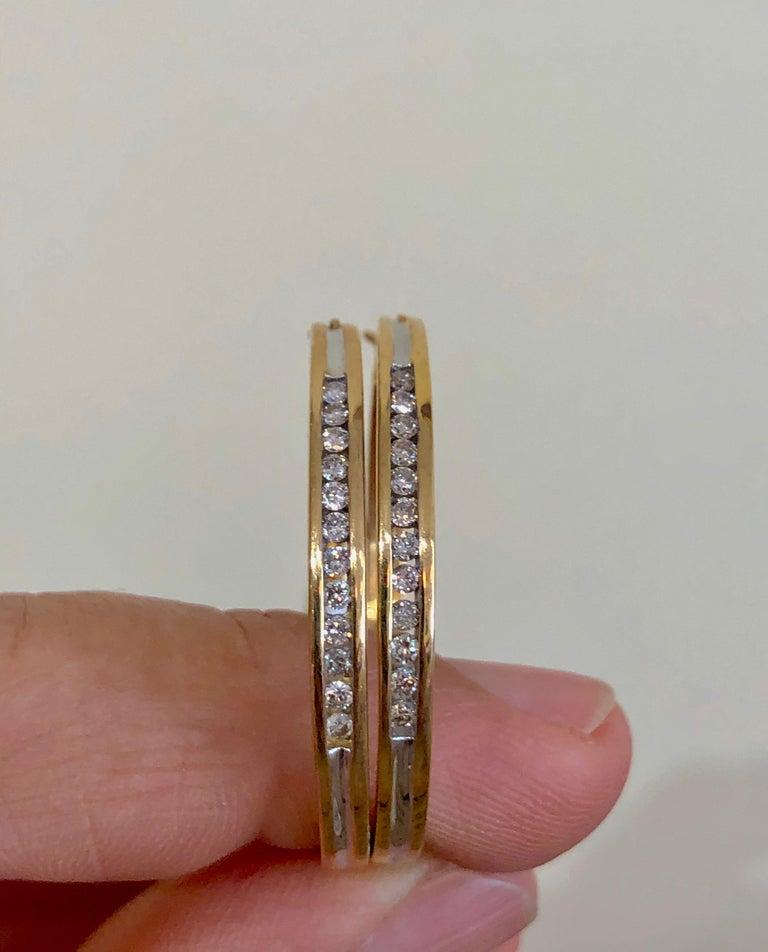 Diamonds and Yellow Gold 14 Karat Hoop Earrings For Sale 3