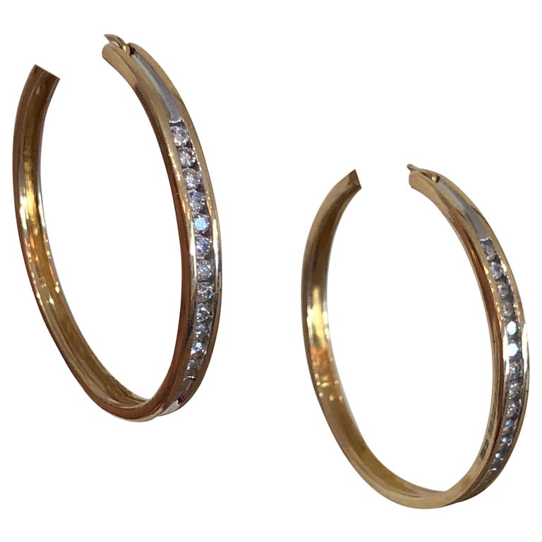 Diamonds and Yellow Gold 14 Karat Hoop Earrings For Sale