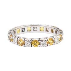 Diamonds and Yellow Sapphires 18 Karat White Gold Full Band Ring