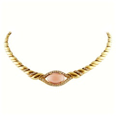 Diamonds, Angel Skin Pink Coral, 18 Karat Gold French Style Chain Necklace