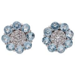 Diamonds, Aquamarine, 18 Karat White Gold Flower Earrings