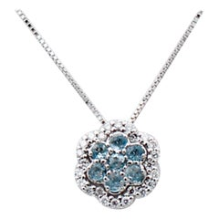 Diamonds, Aquamarine, 18 Karat White Gold Flower Pendant Necklace