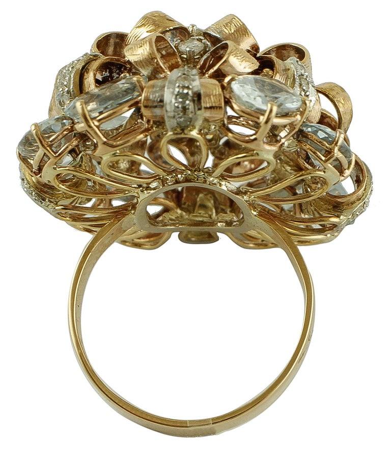 Retro Diamonds, Aquamarine, 9 Karat Yellow and White Gold Ring For Sale