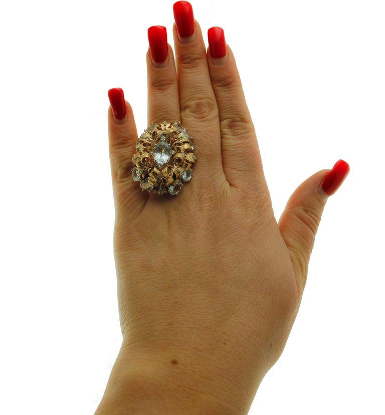 Women's Diamonds, Aquamarine, 9 Karat Yellow and White Gold Ring For Sale