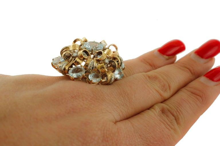 Diamonds, Aquamarine, 9 Karat Yellow and White Gold Ring For Sale 1