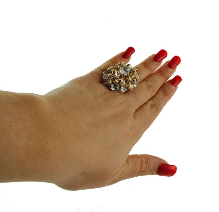Diamonds, Aquamarine, 9 Karat Yellow and White Gold Ring For Sale 2