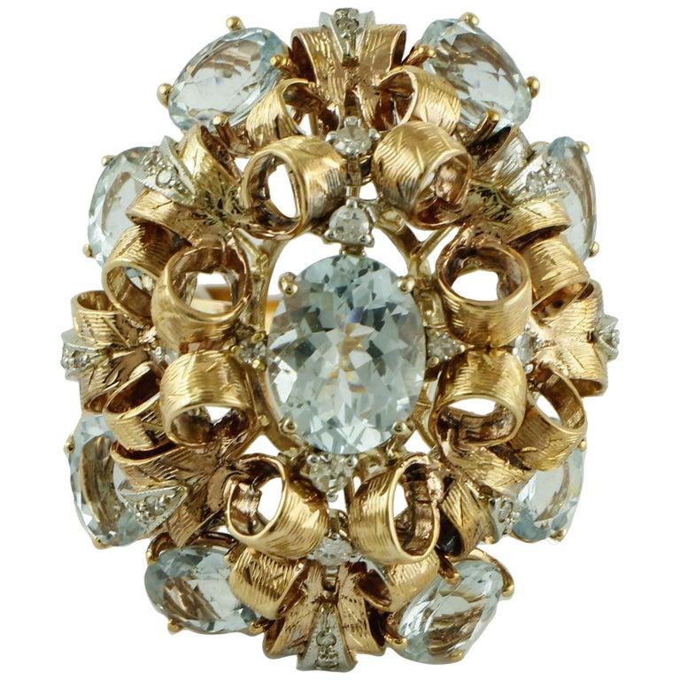 Diamonds, Aquamarine, 9 Karat Yellow and White Gold Ring For Sale