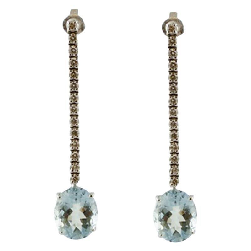 Diamonds, Aquamarines 14 Karat White Gold Dangle Earrings