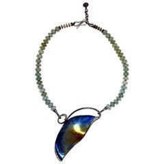 Diamonds Aquamarines 18 Karat Gold Sterling Silver Necklace