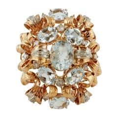 Diamonds, Aquamarines, Rose and White Gold Cluster/Fashion Retrò Ring