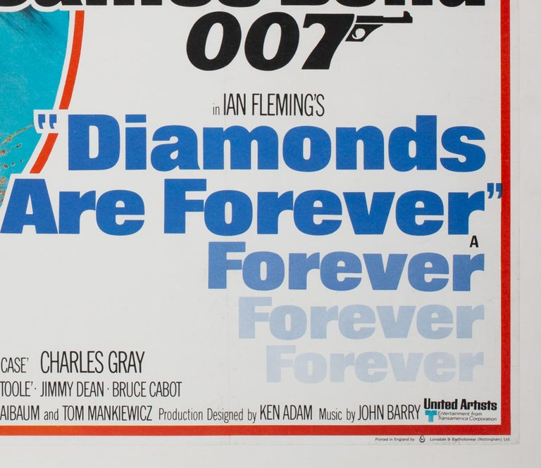Diamonds Are Forever Original UK James Bond Film Poster, 1971, Robert McGinnis For Sale 2