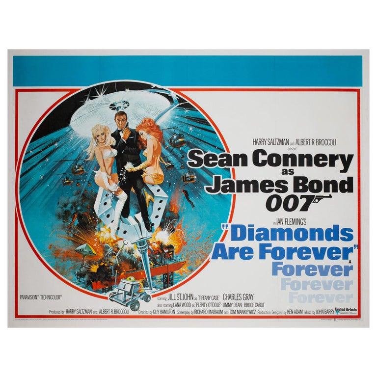 Diamonds Are Forever Original UK James Bond Film Poster, 1971, Robert McGinnis For Sale