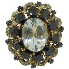 Diamonds Australian Blue Sapphires Aquamarine Rose Gold and Silver Cluster Ring