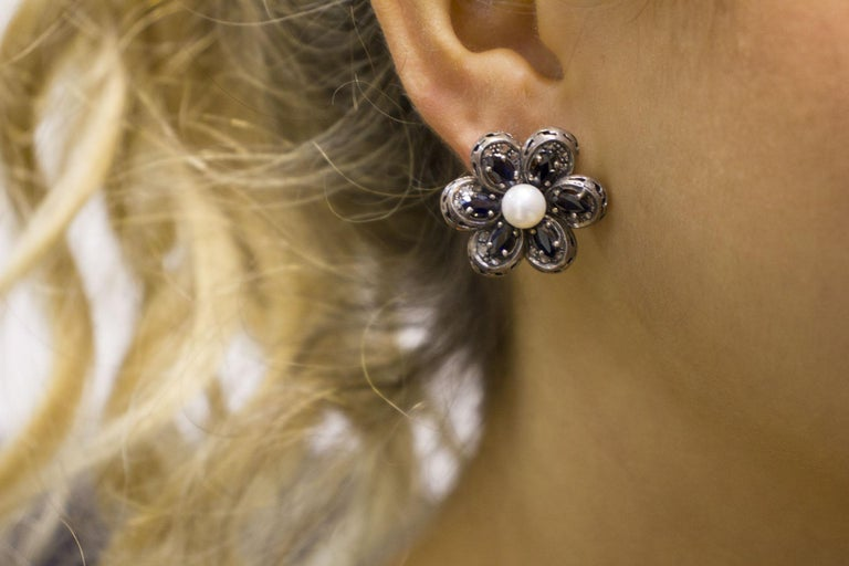 Diamonds Australian Blue Sapphires Pearls Rose Gold and Silver Earrings For Sale 2