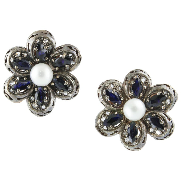 Diamonds Australian Blue Sapphires Pearls Rose Gold and Silver Earrings For Sale