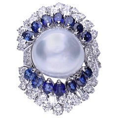 Diamonds Baroque Pearl Sapphires 18 Kt. White Gold Cocktail Ring
