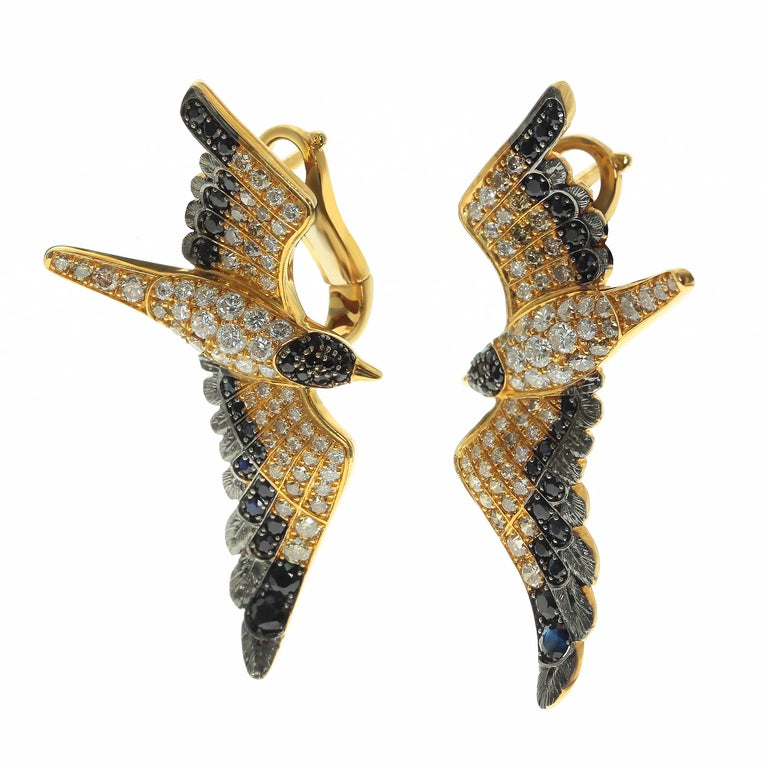 White and Brown Diamonds Black Sapphire 18 Karat Yellow Gold Seagull Earrings Highly detailed Seagull Earrings. Combination of White and Champagne Diamonds gives fully impression that they are alive. If you miss the filling of light ocean breeze,