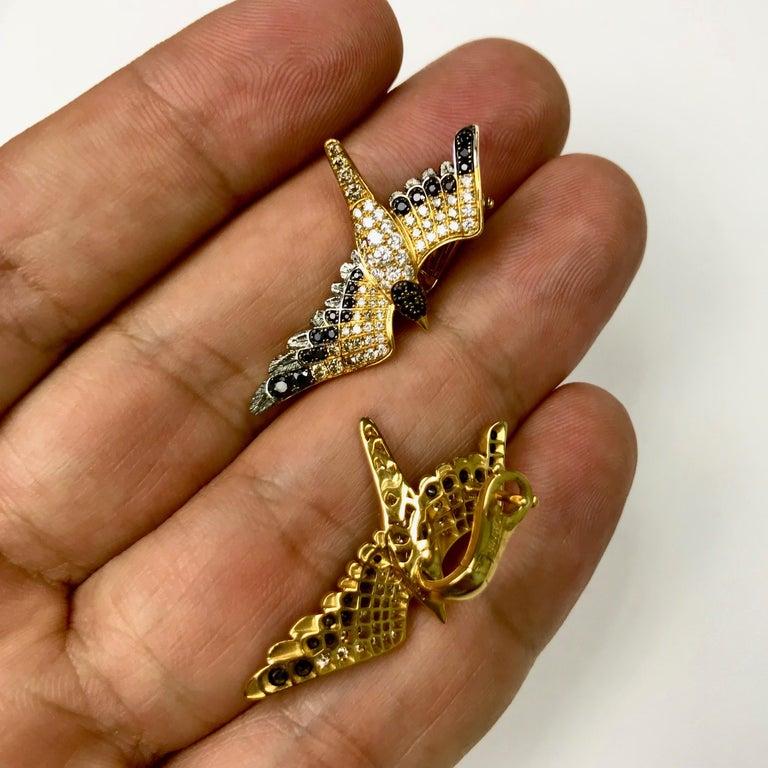 Diamonds Black Sapphire 18 Karat Yellow Gold Seagull Earrings For Sale 1