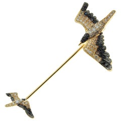Diamonds Black Sapphire 18 Karat Yellow Gold Seagull Pin Brooch