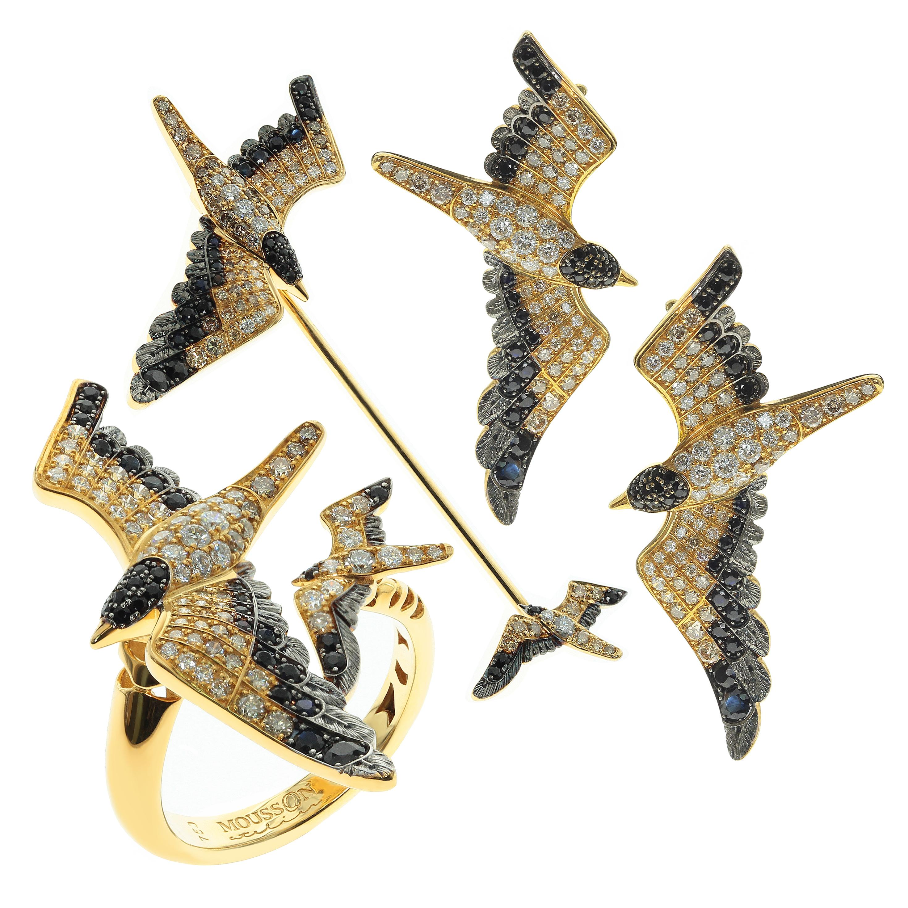 Diamonds Black Sapphire 18 Karat Yellow Gold Seagull Suite