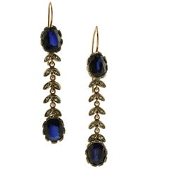 Diamonds, Blue Hard Stone, 9 Karat Rose Gold and Silver Dangle Earrings