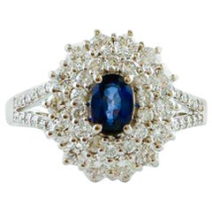 Diamonds, Blue Sapphire, 18 Karat White Gold Ring