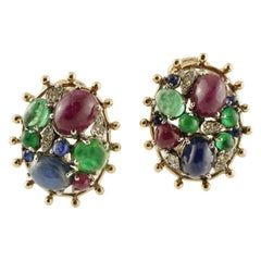 Diamonds, Blue Sapphire, Emeralds and Rubies, 14 Karat Yellow Gold Stud Earrings