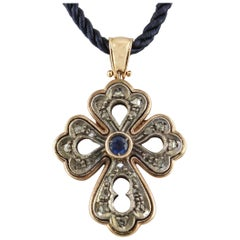 Diamonds Blue Sapphire Rose Gold and Silver Cross Pendant Necklace