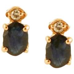 Diamonds, Blue Sapphires, 14 Karat Rose Gold Stud Earrings