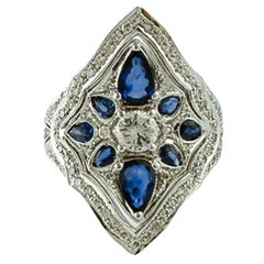 Diamonds, Blue Sapphires, 14 Karat White Gold Vintage Ring