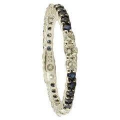 Diamonds, Blue Sapphires, 18 Karat White Gold Band Ring