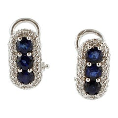 Diamonds, Blue Sapphires, 18 Karat White Gold Earrings